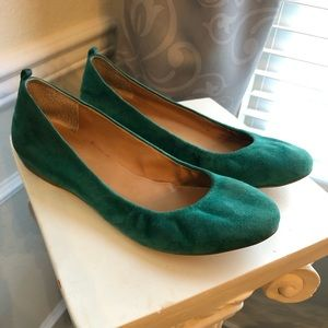J Crew Emerald Green Suede Flats, Size 9